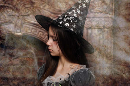 young witch photo in retro treatment photo