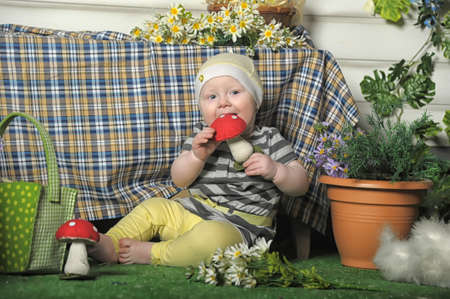 little girl with a toy fly agaric photo