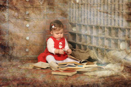 little girl surrounded by books photo