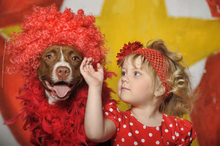 the circus girl and dog photo