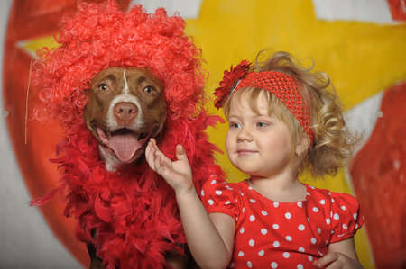 the circus girl and dog Stock Photo