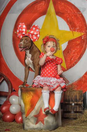 the circus girl and dog photo