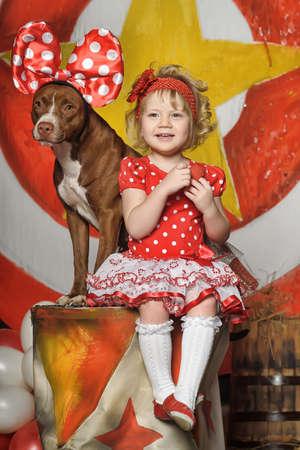 ruffles: the circus girl and dog Stock Photo