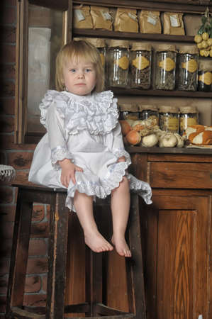 little girl in white dress vintage photo
