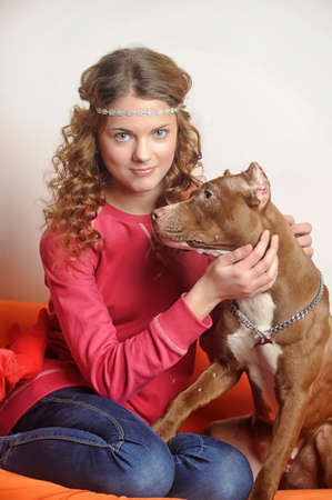 pit bull terrier and girl photo