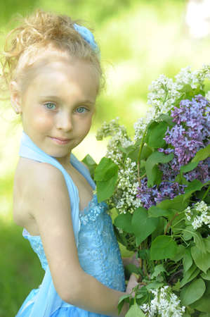 five petals: little girl with lilac