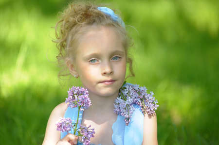 five year old: little girl with lilac