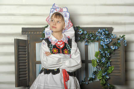 Girl in Polish national costume of Rzeszów photo
