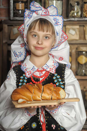 national costume: Girl in Polish national costume