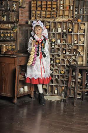 Girl in Polish national costume of Rzeszów photo