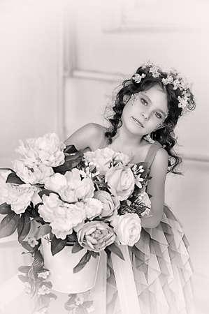 girl in flowers Stock Photo - 19397316