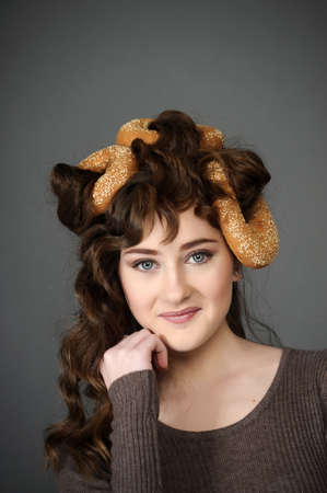 baker girl with bread on head photo