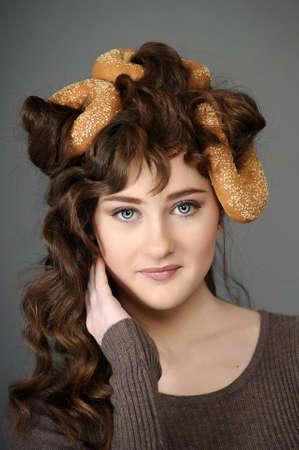 salesgirl: baker girl with bread on head