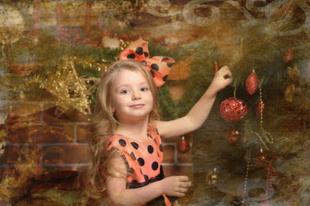 Vintage girl and Christmas tree Stock Photo - 19559046