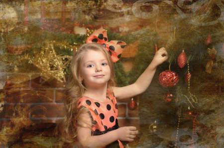 Vintage girl and Christmas tree Stock Photo - 19559046