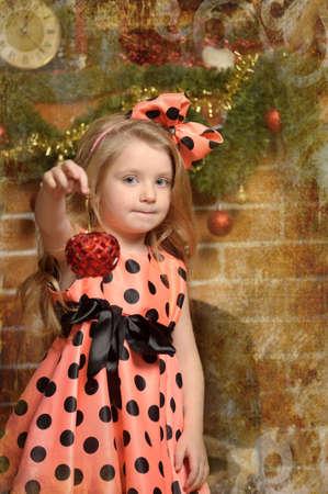 Vintage girl and Christmas tree