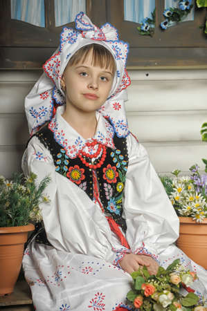 Girl in Polish national costume of Krakow Stock Photo - 19338034
