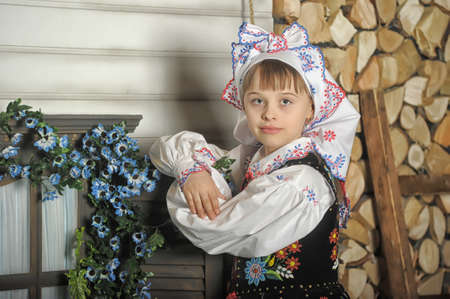 Girl in Polish national costume of Krakow photo