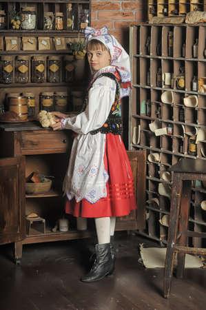 national costume: Girl in Polish national costume of Krakow