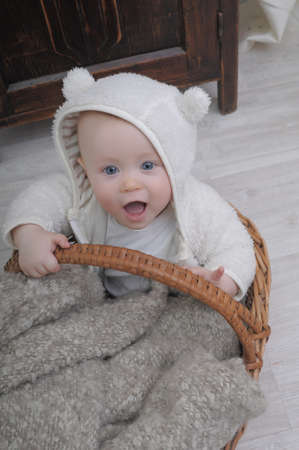 Baby in basket photo