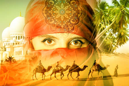 desert sunset: Arab woman