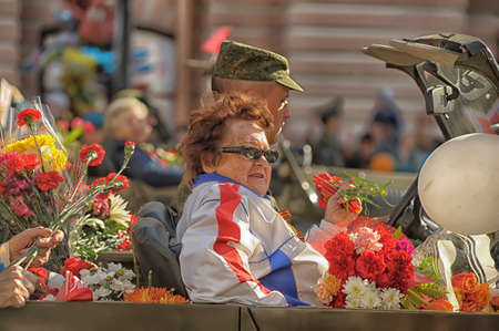 cossacks: Participants in the parade of victory in Great Patriotic War on May 9, St  Petersburg, Russia