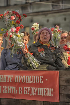 The parade of veterans of World War II on the Nevsky Prospect, St  Petersburg, Russia, May 9, 2013