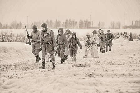 the great outdoors: Russian soldiers in the World War II uniform