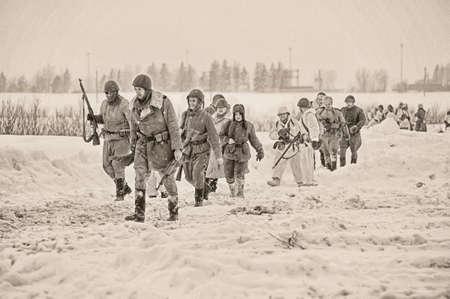 Russian soldiers in the World War II uniform