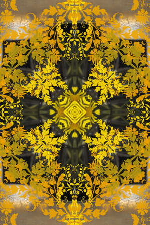 yellow with green ornament carpet photo
