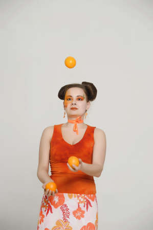 girl with oranges photo