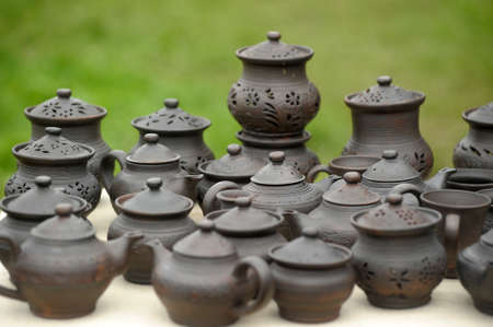 Handmade clay pots In a workshop  Stock Photo