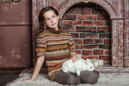 enjoymant: girl with white rabbit