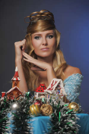 beautiful blond girl in christmas photo