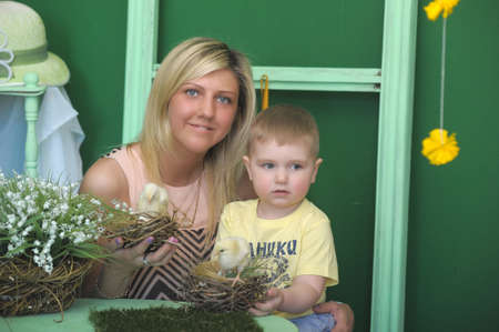 happy mother with a child at Easter photo