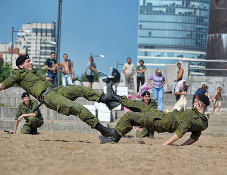 Show of the Marine Corps on the day of the Military Navy, Russia, St  Petersburg, July 2013