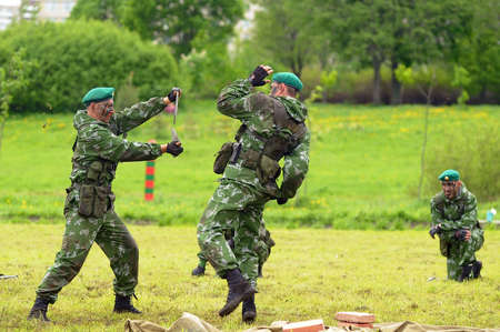 berets: Celebrating the Day of the Border Guards  Russian soldiers on the demonstration exercises
