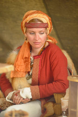 Viking woman, festival Legend of the Norwegian Vikings, St  Petersburg, Russia