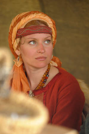 anglo saxon: Viking woman, festival Legend of the Norwegian Vikings, St  Petersburg, Russia Editorial