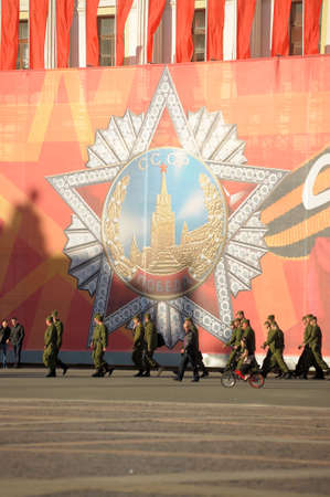 tommy: Soldiers walking in the Palace Square on the eve of Victory Day, Saint-Petersburg, Russia