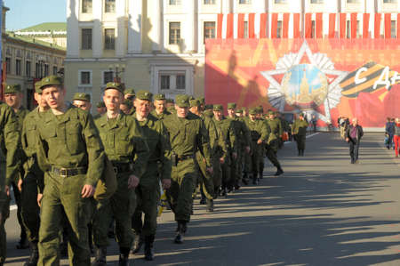 Soldiers walking in the Palace Square on the eve of Victory Day, Saint-Petersburg, Russia