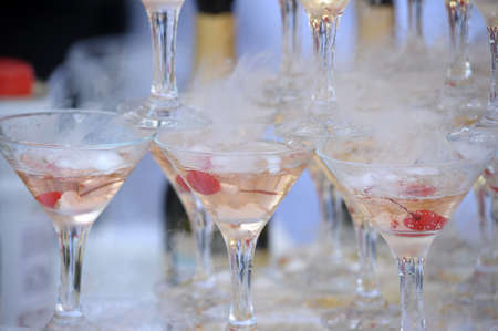 Champagne glasses in a pyramid Stock Photo - 21478348