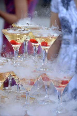 Champagne glasses in a pyramid photo
