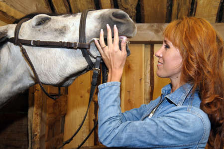 young woman in a denim jacket with a horse photo
