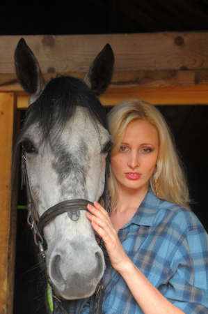Sexy slim blonde with a horse Stock Photo - 21690758