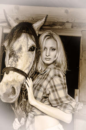 Sexy slim blonde with a horse photo