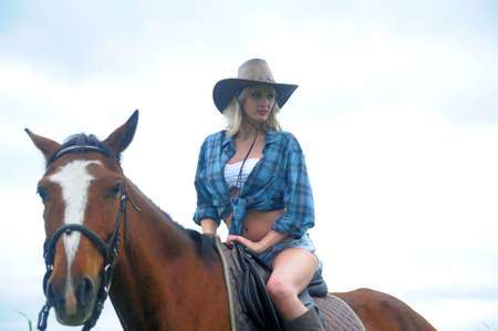 Sexy slim blonde with a horse Stock Photo - 21690770