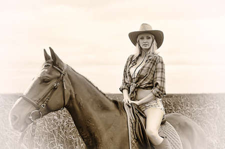 Sexy slim blonde with a horse Stock Photo - 21690771