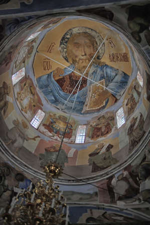 neogothic: self-healing unrestored fresco of the Trinity Cathedral of Alexander Svirsky Monastery Editorial