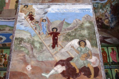 self-healing unrestored fresco of the Trinity Cathedral of Alexander Svirsky Monastery Stock Photo - 21755186